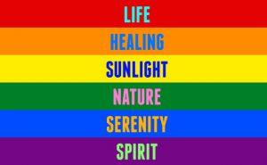 Traditionella regnbågsflaggan